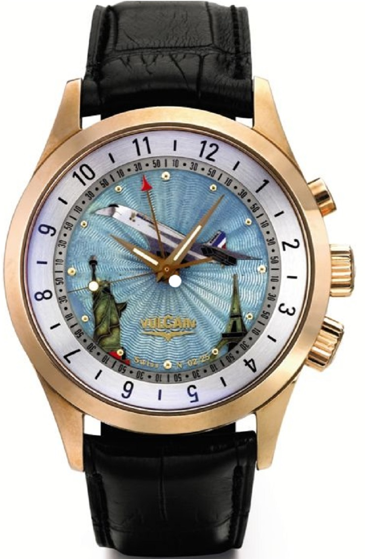 Montre Vulcain CRIKET GMT WORLD TIME CONCORDE (Or rose)
